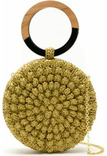 Serpui Clutch Circle Popcorn Em Crochê De Ráfia - Neutro