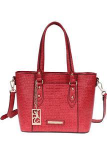 Bolsa Texturizada- Vermelha & Dourada- 22X26X13Cm
