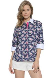 Camisa Moché Estampa Floral - Feminino-Marinho