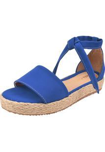 Sandália Plataforma Macerata Flatform Sola Corda Amarrar Azul Bic