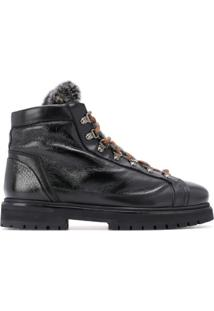 Santoni Ankle Boot Com Cadarço - Preto