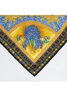 Lenço Templos Em Seda - Amarelo & Azul - 86X88Cmversace