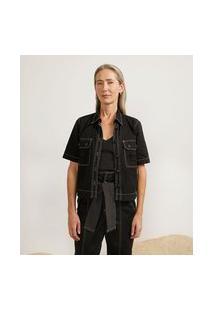 Camisa Em Sarja Com Bolsos Utilitários E Pespontos Contrastantes   Cortelle   Preto   Pp