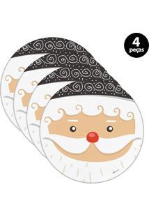 Sousplat Mdecore Natal Papai Noel 32X32Cm Branco 4Pçs