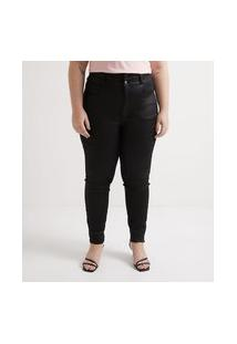 Calça Skinny Jeans Resinada Curve & Plus Size | Ashua Curve E Plus Size | Preto | 50