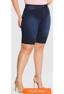 Bermuda Jeans Com Elastano Azul