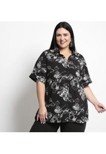 Camisa Floral- Preta & Branca- Pianetapianeta
