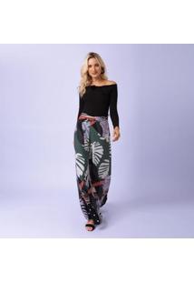 Calça Estampada Natalie Pantalona Mercatto Feminina - Feminino