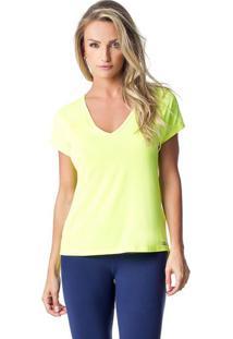Blusa Lisa Com Recortes & Vazado- Amarelo Neon- Vestvestem