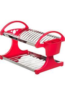 Escorredor Para 16 Pratos Vermelho Aço Inox 2104-261 Brinox