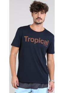 "Camiseta Masculina ""Tropical"" Manga Curta Gola Careca Azul Marinho"
