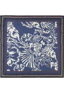 Lenço De Seda Floral San Marco - Azul
