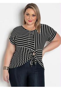 Blusa Listrada Plus Size Com Amarração Frontal