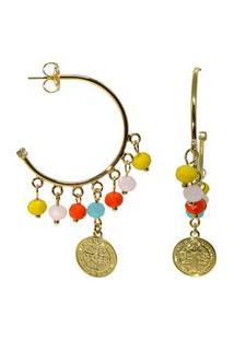 Brinco Argola Infine Medalha De São Bento Miçangas Coloridas Banhado A Ouro
