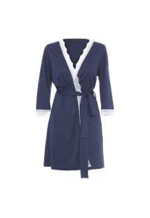 Robe Com Renda De Algoão Pima - Azul