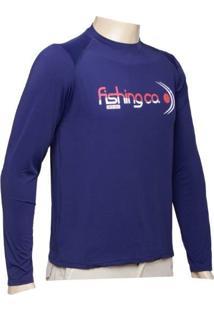 Camiseta Manga Longa Fishing.Co Azul Marinho Fps 50+ Ref.1020