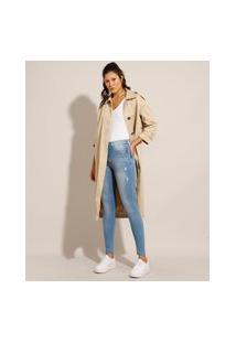 Calça Super Skinny Push Up Lipo Jeans Com Puídos Cintura Alta Sawary Azul Claro