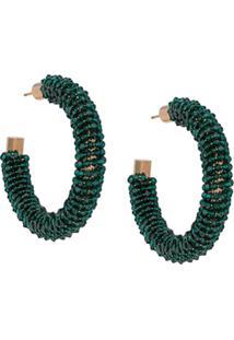 Jacquemus Beaded Hoop Earrings - Verde