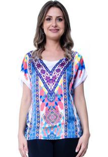Blusa Estamapada 101 Resort Wear Basica Étnico Azul