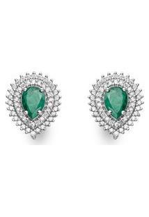 Brinco Ouro Branco Esmeraldas E Diamantes