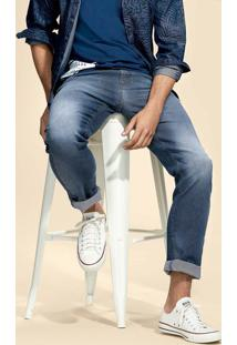 Calça Jeans Masculina Slim Com Lavação Clara