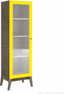 Cristaleira 1 Porta De Vidro 0809 Com Pés Palito Demolição/Amarelo - Genialflex