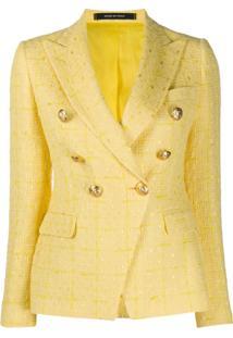 Tagliatore Blazer Jalicya De Tweed Com Botões Duplos - Amarelo