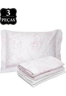 Jogo De Cama Solteiro Karsten Elegance Genebra Cetim 300 Fios 3Pçs Branco/Rosa