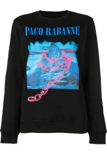 Paco Rabanne Blusa De Moletom Estampada - Preto