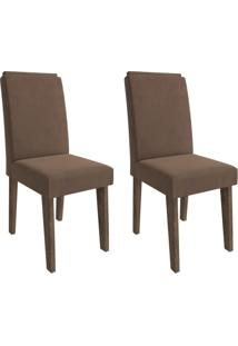 Conjunto Com 2 Cadeiras De Jantar Milena Suede Marrocos E Chocolate