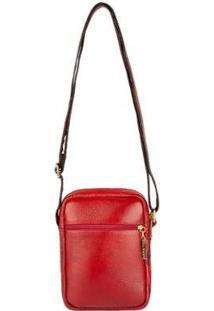 Bolsa Feminina Shoulder Bag De Couro Pietra - Feminino-Vermelho