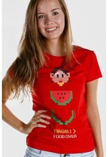 Camiseta Bandup! Magali 50 Anos Food Over - Feminino-Vermelho