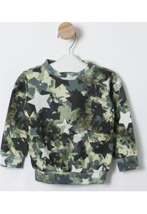 Blusã£O Camuflado Com Estrelas - Verde Militar & Branco