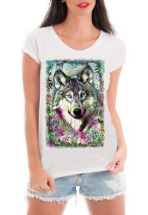 Camiseta Criativa Urbana Rendada Lobo Selvagem Branco