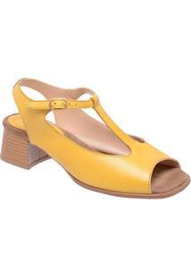 Sandália Tradicional Em Couro- Amarela- Salto: 4,5Cmmr. Cat
