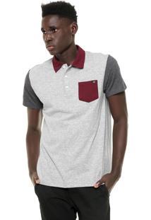 Camisa Polo Billabong Dover Cinza/Vinho