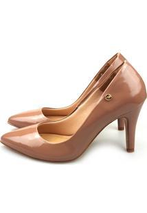 Scarpin Love Shoes Bico Fino Alto Verniz Marrom