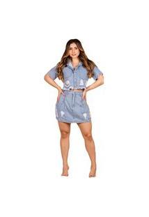 Blusa Cropped Jeans Feminino Barra Desfiada Com Destroyed Azul Claro
