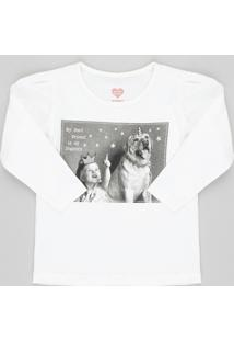 Blusa Infantil Com Estampa De Cachorro Manga Longa Decote Redondo Off White