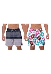 Kit 2 Shorts Rosquinhas Coloridas E Cinza Moda Masculina Cinza Praia Surf Vôlei Banho W2
