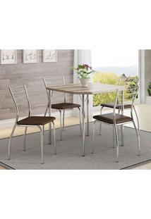 Mesa 1510 Nogueira Cromada Com 4 Cadeiras 1700 Cacau Carraro