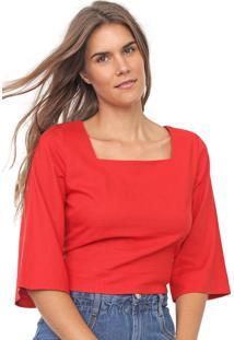 Blusa Linho Cantão Decote Quadrado Vermelha
