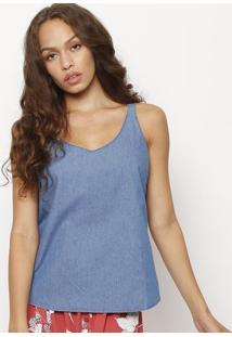 Blusa Jeans Com Pespontos- Azulhering