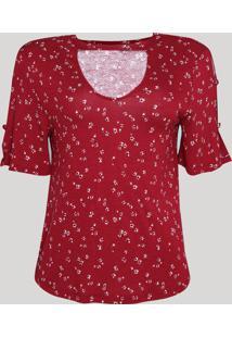 Blusa Feminina Choker Estampada Floral Com Botões Manga Curta Vermelha