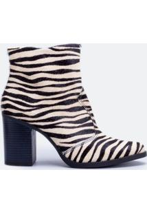 Bota Feminina Animal Print Zebra Em Couro Satinato