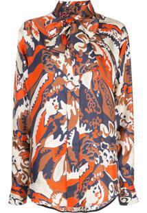 Victoria Beckham Blusa De Seda Com Amarração Na Gola - Estampado