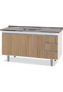Gabinete De Cozinha 150Cm Siena Branco E Madeira Bonatto