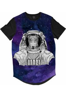 Camiseta Longline Insane 10 Animal Astronauta Bull Terrier No Espaço Sublimada Cinza
