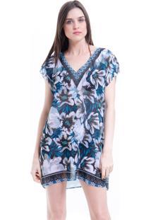 Blusa 101 Resort Wear Tunica Saida De Praia Crepe Estampada Floral Azul