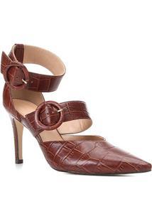 Scarpin Couro Shoestock Salto Alto Croco Tira Removível - Feminino-Tabaco